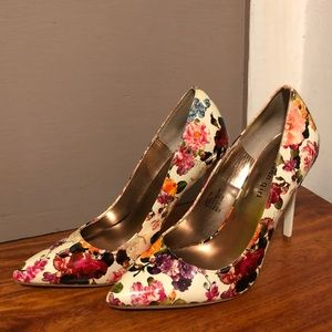 Multicolored Floral Closed Toe Heels